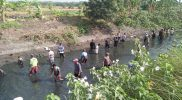 Serunya Gropyokan, Warga Desa Padangan Antusias Ikuti Lomba Tangkap Ikan