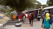 Pengunjung Wisata Telaga Sarangan Magetan mulai ramai pengunjung setelah tutup hampir empat bulan akibat pandemi Covid-19. Foto: Alfa/Progresnews.id.