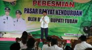 Bupati Tuban Fathul Huda dalam peresmian Pasar Rakyat Kendurian, Rabu (2/12). Foto: Progresnews.id/Ans.