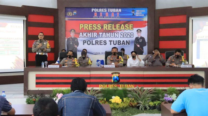 Suasana konferensi pers akhir tahun Polres Tuban bersama sejumlah awak media. Foto: progresnews.id/ans