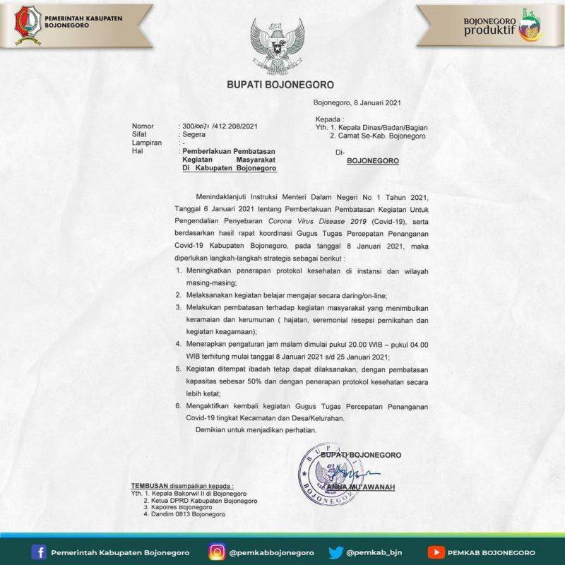 Pemberlakuan Pembatasan Kegiatan Masyarakat oleh Bupati Bojonegoro. Foto: ig Pemkab Bojonegoro.