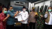 Wakil Bupati Gresik Muhammad Qosim bersama jajaran Forkopimda saat serah terima vaksin Covid-19 sinovac