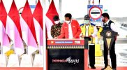 Presiden Joko Widodo meresmikan Tol Kayu Agung-Palembang, Selasa (26/1). Foto: Sekbi.