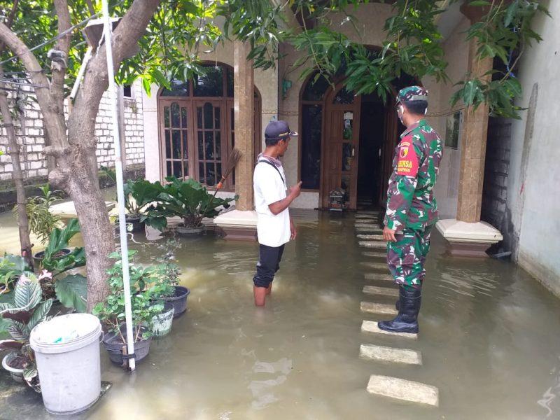 banjir di Lamongan yang merambah ke pemukiman warga. Foto : Istimewa