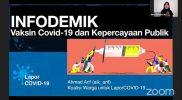 """Paparan Ahmad Arif dalam Webinar Series Kedua Melawan Infodemi Covid-19 dengan tajuk """"Bahaya Mis/Disinformasi Vaksin Covid-19"""" pada Kamis (11/2)."""