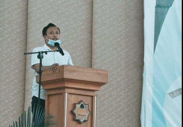 Koordinator Pusat DEMA PTKIN se-Indonesia, Onky Fachrur Rozie menyampaikan pesan-pesan dan harapan saat acara Rapat Koordinasi DEMA PTKIN se-Indonesia, Kamis, 29 Februari 2021.