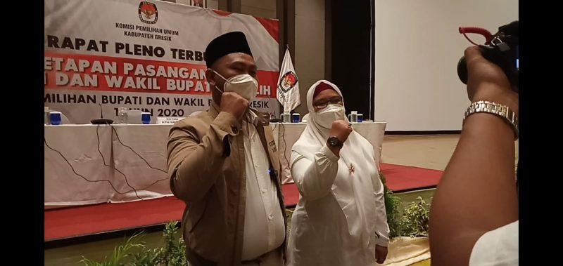 Gus Yani dan Bu Min saat di temui media usai ditetapkan oleh KPU.