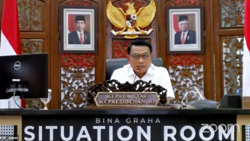 Kepala Staf Kepresidenan, Moeldoko mengaku siap memfasilitasi mediasi bersama Kementerian BUMN, Kamis (11/2). Foto: tangkapan layar webinar KSP Mendengar Sesi 9.