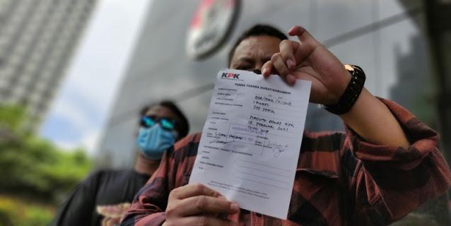 Sekjen PPMK, Lisman Hasibuan usai melaporkan Novel Baswedan ke Dewan Pengawas KPK, Senin (15/2). Foto: kontenislam.com.