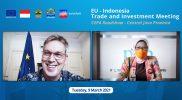 Duta Besar Uni Eropa untuk Indonesia, Vincent Piket dan Kepala Dinas Penanaman Modal dan Pelayanan Terpadu Satu Pintu Jawa Tengah, Ratna Kawuri dalam kunjungan virtual ke Semarang pada Selasa (9/3).