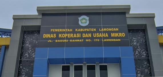 Kantor Dinas Koperasi dan Usaha Mikro Lamongan. Foto : Progresnews.id /Ammy.