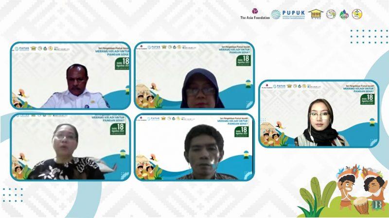 Para pemateri saat mengikuti seri 2 diskusi daring pengelolaan produk inovatif dengan tajuk Meramu keladi untuk Pangan Sehat, Rabu (18/8).