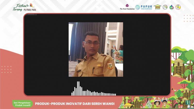 Kasie Ekonomi Bappeda Keerom Triyono saat menjadi pemateri dalam Seri Diskusi Pengelolaan Produk Inovatif Pangan Papua: Festival Torang Pu Para Para, Senin (16/8).